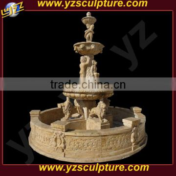 outdoor decorative stone fountain with statues for sale