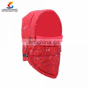 Red warm head protect windproof winter fleece hat outdoor face mask