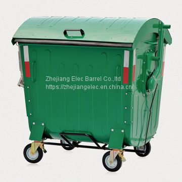Factory Directly Wholesale 1.1CBM Hinged Lid Powder Coated Metal Movable Garbage Bin Outdoor CE Certificated