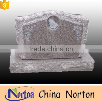China red granite tombstone carving rose gravestone NTGT-005L