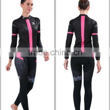 Wholesale women cycling wear jersey+trouser long sleeve bicycle sets bike clothes Custom Cycling Jersey set Sublimation