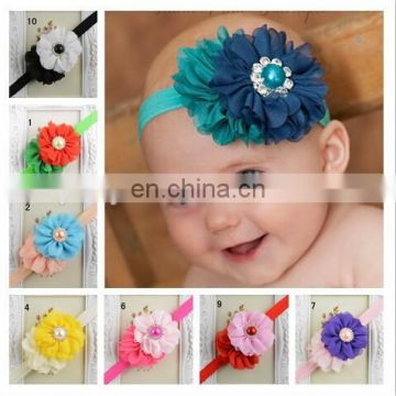 Europe and the United States hot sell 2 Flower Chiffon festoon drill combination hair band multicolor baby headbands