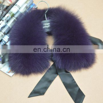 Factory price hand made fox fur collar neck warmer with ribbon
