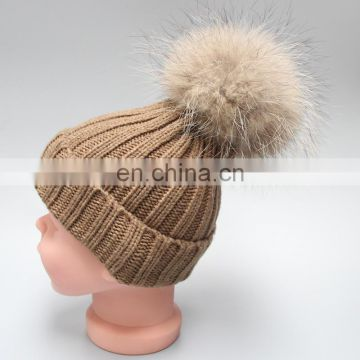 High Quality Custom Winter Knitted Beanie Hat With Fur Pom- Pom