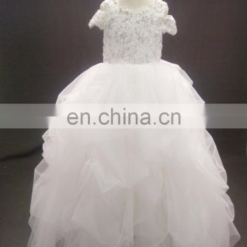 Cute Ball Gown Cap Sleeve Lace Beaded Tutu Heart Cutout Back Tulle Fower Girl Dresses Wedding