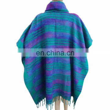 Wool Blend Poncho Indian Wool Blend Jacket Winter Fashion Clock Coat Women Indian Long Ponchos Poncho Plus Size Clothing Multi