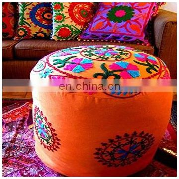 India Decorative Ottoman Cover, Suzani Embroidered Pouf Cover