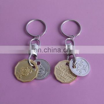 uk new 1 pound size metal trolly token coin key holder