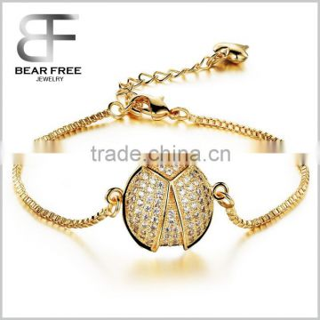 Unique Beetle Accessories 18k Gold Plated Bracelet Box Chain for Women, Length Adjustable High Polished
