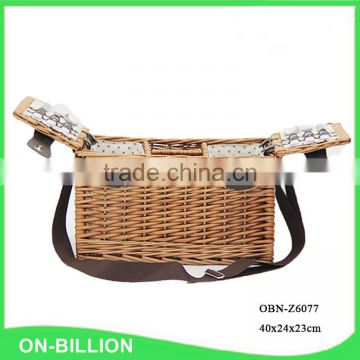 Bulk vintage rattan wicker picnic basket for 2 person for set