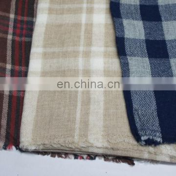 2016 winter custom design women oversized checked wool with nylon pashmina scarf shawl