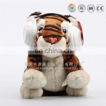 eco-friendly soft baby toy electric plush toy tiger