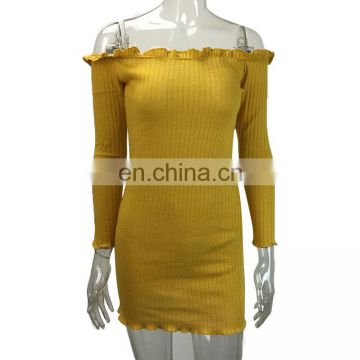 2017 Top Design Sexy Yellow Off The Shoulder Club Bodycon Bandage Dress