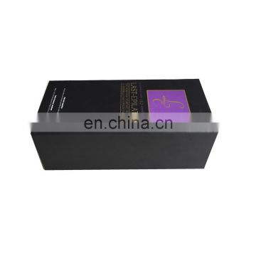 High quality cardboard matt black custom cardboard wine gift box