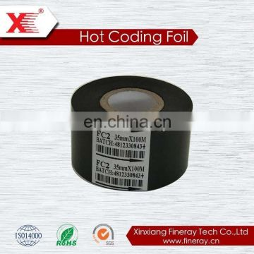 hot date stamp for food industrial consumables/hot thermal transfer foil for printing expiration date FC3 type 30mm*100m size