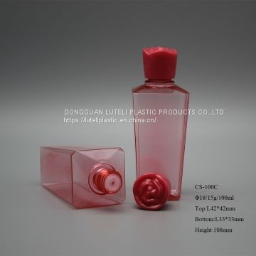 30ml small customized color PETG plastic skin care lotion square bottle with inner plug and screw rose cap