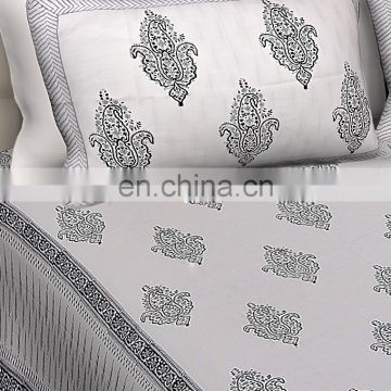 New Indian Double Size Bedsheet With 2 PC Pillow Cover Set 100% Cotton Luxury Bedspread
