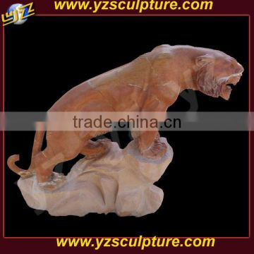 garden decoration hand carved life size marble tiger statue