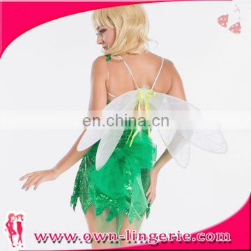 Sequined Swallowtail Butterfly Sexy Green Fairy Bug Adult Fancy Dress Halloween Costume