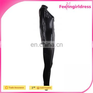 Factory Price Sexy Black Tight Zipper Long Sleeve Lady PU Leather Jumpsuit