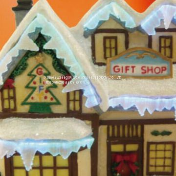 F/O COFFEE shop/GIFT SHOP/CANDY SHOP use batteries Polyresin Christmas House Decoration