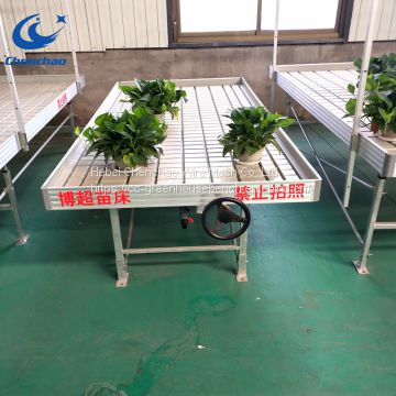 Greenhouse grow plants rolling bench,ebb flow metal rolling table