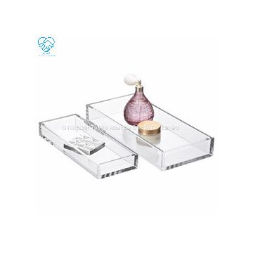 To Win Hotel Plastic Stacking Tray Clear Square Acrylic Food Serving Tray for Restaurant