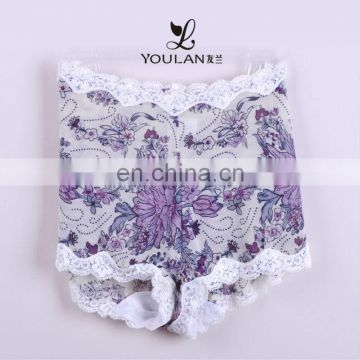 Bottom Price Fashion Mature Women Print and Lace Brief Underwear