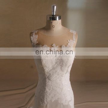 Exquisite New Model Lace Applique Backless Satin Wedding Dress With Chapel Train Sleeveless