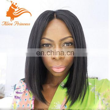 Natural Scaip Glueless Silk Top Full Lace Wig Silky Straight Malysian Hair Short Bob Wig With Natural Hairline For Black Women
