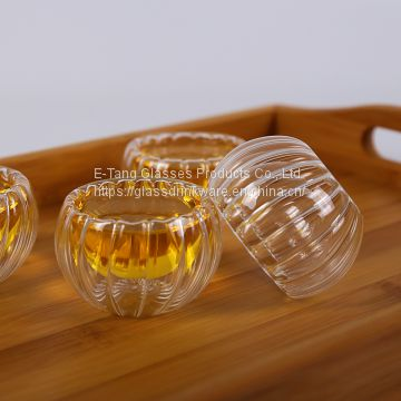 Wholesale Factory Directly Pumpkin 50ml glass cup, drinking glasses, double wall mini glass