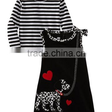 (CS810#)OEM Black and white t shirt cord dress spot dog applique sets Baby clothing set winter wear
