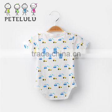 Summer Cool Design Light Blue Full Small Cars Printing Baby clothes For Boys Item List Baby Baby Clothes Shop