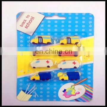 3D car model erasers with moveable wheels