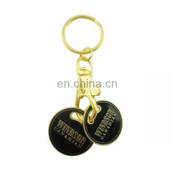 custom promotional metal plate gold coin keychain trolley token