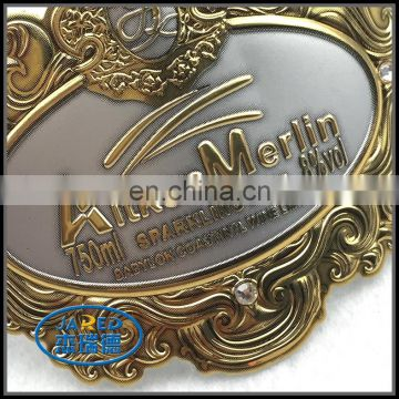Gold and Silver Metal Crafts Aluminum Wine Label with Customized Design
