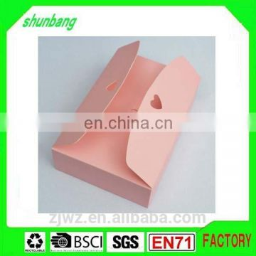 Folding pink color art paper & paper candy box with bottom insert