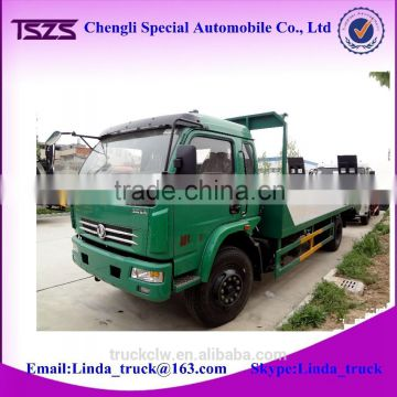 High quality 4x2 low bed trucks flat bed car for transport heavy duty machine or 20ft container for sale                                                                         Quality Choice