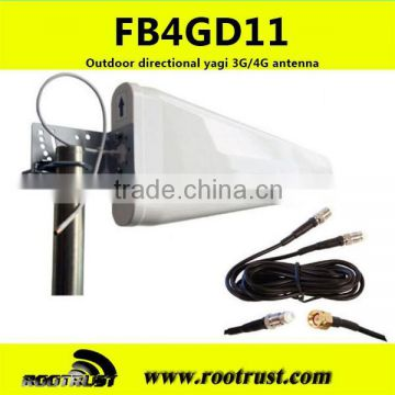 FB4GD11 Outdoor Directional YAGI 3G/4G Antenna 700-2700Mhz 11dBi Peak Gain with 10m cable and SMA/M connector