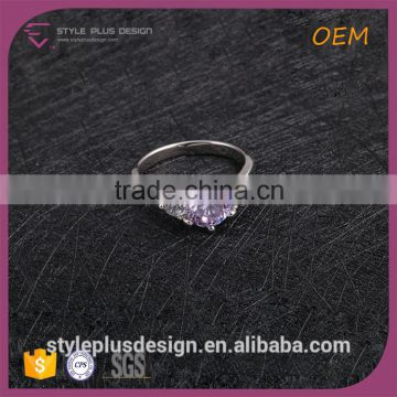 R63493K01 Egg Baby Swimming Neck King And Queen Engagement And Wedding Rings Micro Purple Diamonds Sterling Silver Ring