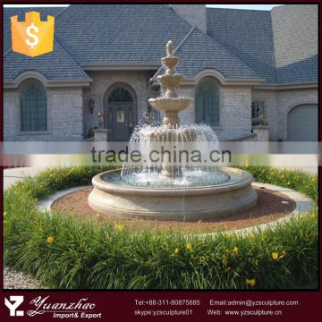 Welcomed outdoor large 4 tier stone marble water fountain