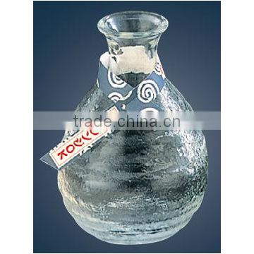 Tokkuri Hard Glass Sake Bottle Glass Bottles Japanese with Sake Glass Sake Cup Made in Japan