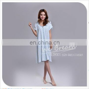 Bamboo pajama nightgown printed women short sleeves button down design
