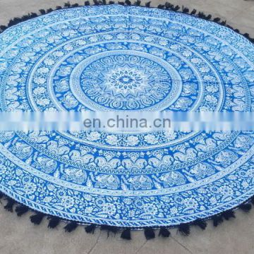 traditional mandala tapestry cotton throw beach bedsheet with pom pom wholesale