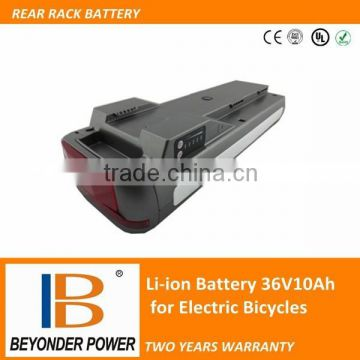 Best price, CE RoHS approved, rear rack 36volt li ion batteries for electric bike, two years warranty