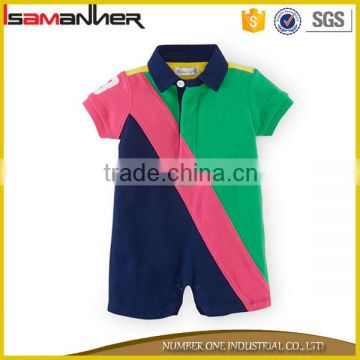 New style baby romper polo collar short sleeves popular baby club clothes                                                                                                         Supplier's Choice