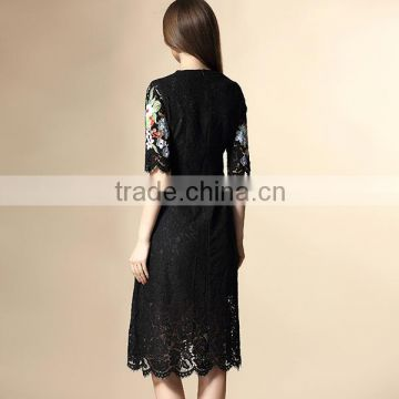 2016 great quality floral embroidered black lace dress patterns for girls