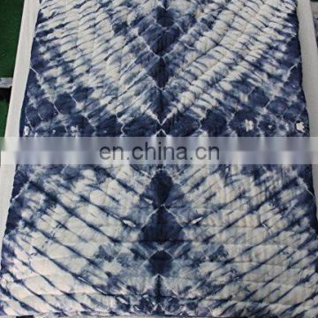 Queen Size Shibori Print Kantha Quilt Handmade Throw Cotton Blanket Queen Size Hand Block Print Quilt