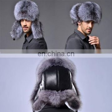 Winter New Style Fox Hair LeiFeng Men Hats, Thick Warm Middle and Old People Ear Protection Winter Fur Hat