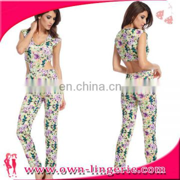 2016 High quality sexy ladies jumpsuit star printed jumpsuit women